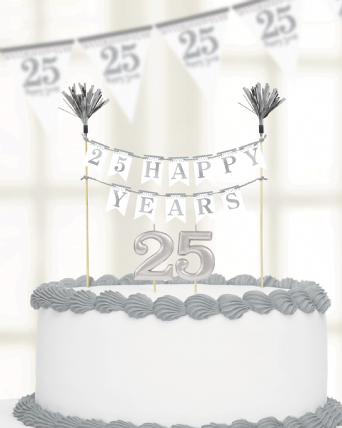Sparkling Silver Anniversary Cake Decoration & Candles